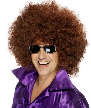 70s  Unisex Mega Huge Afro Wig - Brown